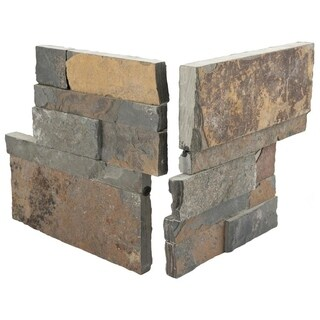 SomerTile 7x7-inch Piedra Rusty Slate Natural Stone Corner Wall Tile (Pack of 2)