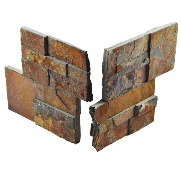 SomerTile 7x7-inch Piedra Rusty Slate Natural Stone Corner Wall Tile (2 tiles) 17020363