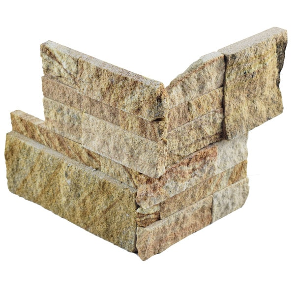 SomerTile 7x7-inch Piedra Sandstone Natural Slate Corner Wall Tile (Pack of 2)