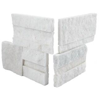 SomerTile 7x7-inch Piedra White Quartzite Natural Stone Corner Wall Tile (Pack of 2)