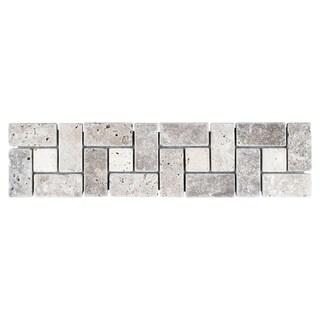SomerTile 3x12-inch Tivoli Spiral Noce Chiaro Travertine Border Trim Wall Tile (Pack of 12)