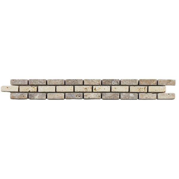 SomerTile 1.25x12-inch Tivoli Brick Noce Chiaro Travertine Border Trim Wall Tile (Pack of 12)