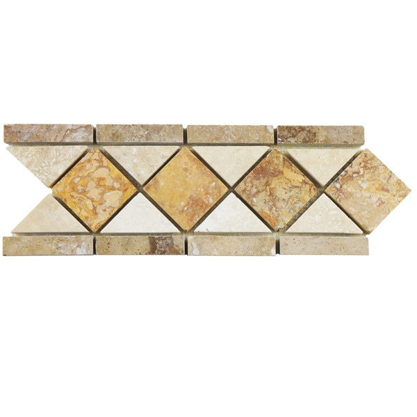 SomerTile 4x12.5-inch Tivoli Diamon Noce Chiaro Travertine Border Trim Wall Tile (Pack of 12)