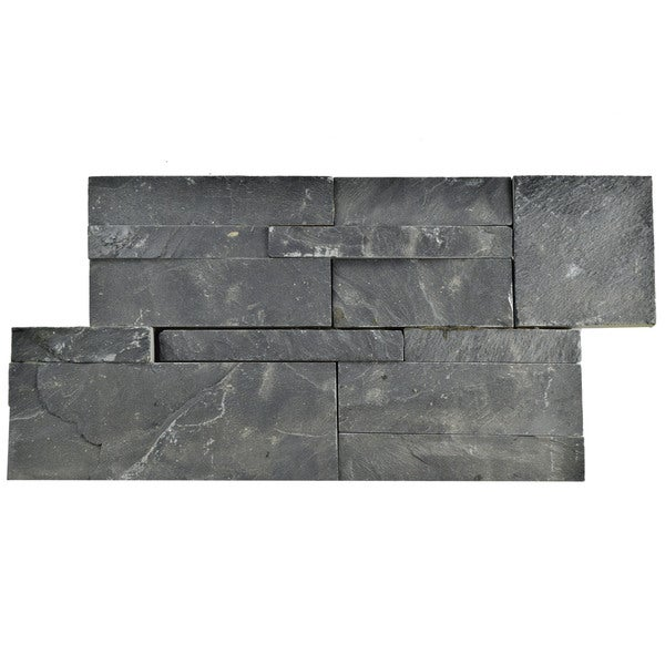 SomerTile 7x13.5-inch Piedra Black Slate Natural Stone Wall Tile (Case of 8)