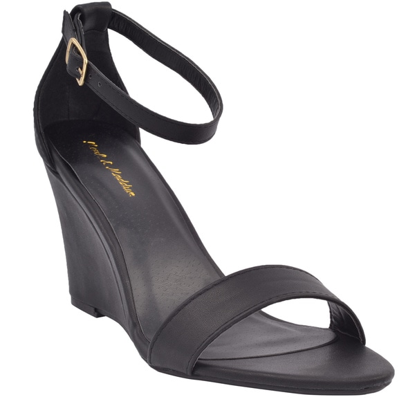 Mark and Maddux Women's Elisha-13 Ankle Strap Wedge Sandal Size 8 in Black (As Is Item)