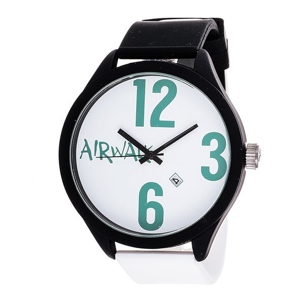 Airwalk Analog Black Case with Black & White Silicone Strap Watch