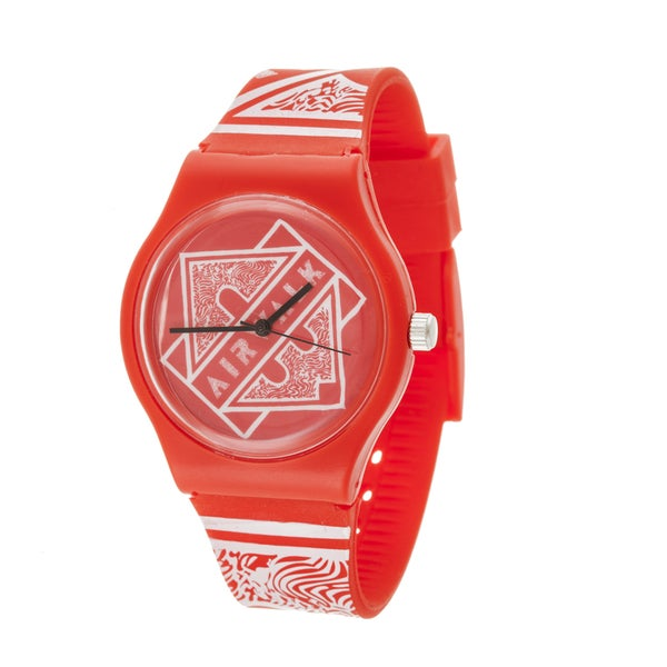 Airwalk Retro Analog Unisex Red Case and Logo on Dial with Red Silicone Strap Watch