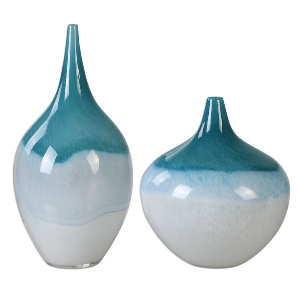 Carla Teal White Vases (Set of 2)