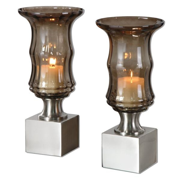 Araby Smoked Glass Candleholders (Set of 2)