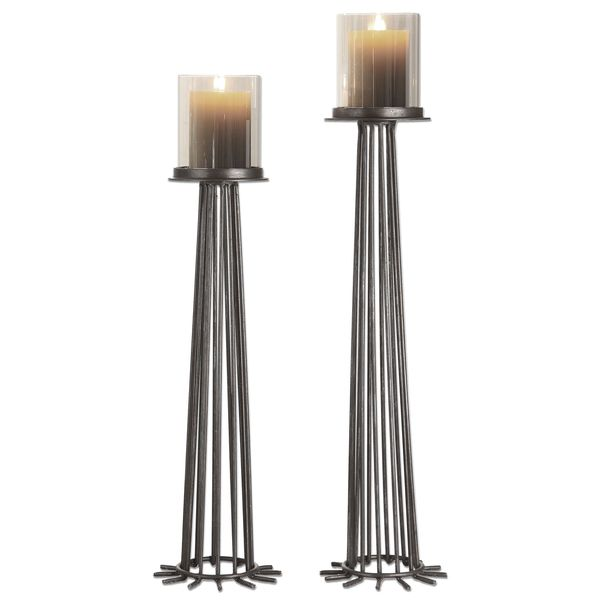 Bardo Aged Iron Candleholders (Set of 2)