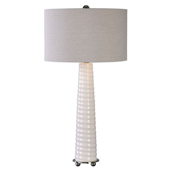 Mavone Gloss White Table Lamp 17037372