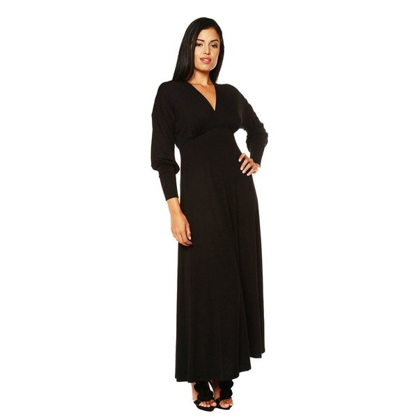 24/7 Comfort Apparel Women's Long Sleeve Empire Maxi Dress X-Large in Charcoal (As Is Item)