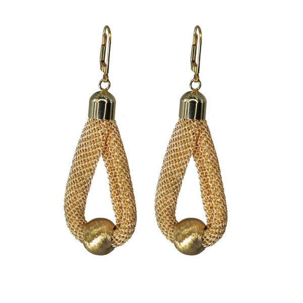 18k goldplated or rhodium-plated Shiny Fabric Bead Drop Earrings
