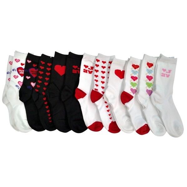 Sockbin Heart Print Valentine 12-pack Crew Socks
