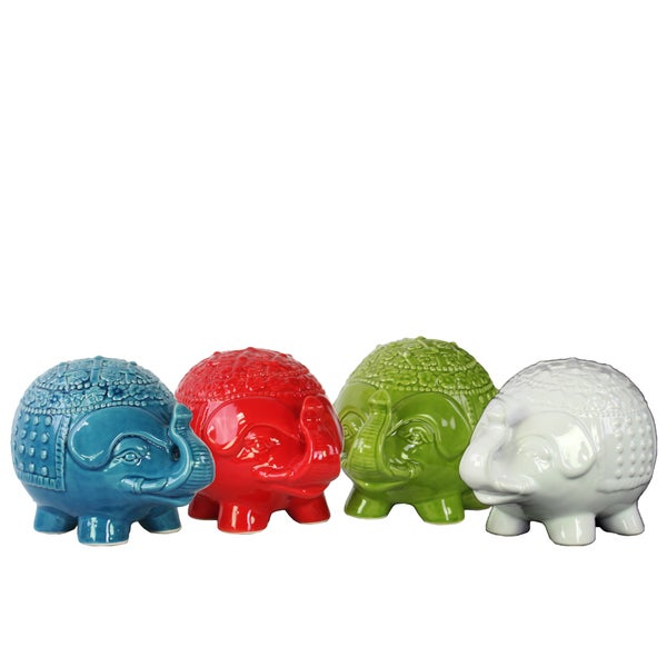 Assorted Colors Ceramic Egg-shaped Body Standing Trumpeting Elephant Figurines (Set of 4)