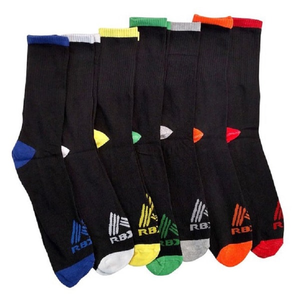 RBX Men's High Performance Athletic Running Crew Socks (Pack of 7)