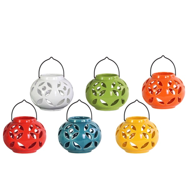 Assorted Color Gloss Finish Ceramic Round Large Tea Light Lanterns with Metal Handles (Set of 6)