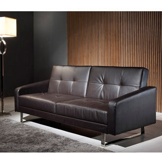 Corvus Black Polyurethane Folds to a Bed Sofa with Stainless Steel Legs
