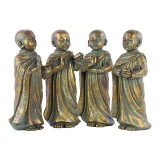 Tarnished Bronze Fiberstone Buddha Figurine Assortment in Assorted Mudras