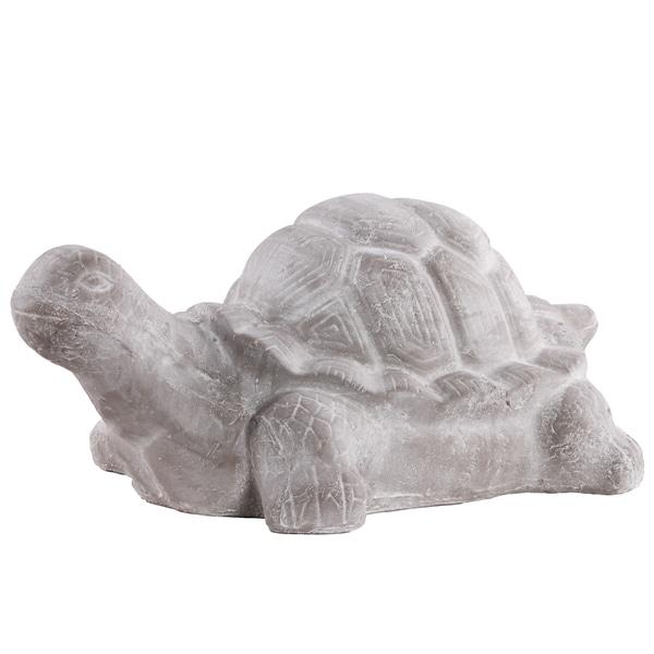 Washed Concrete Grey Finish Terracota Large Tortoise Figurine