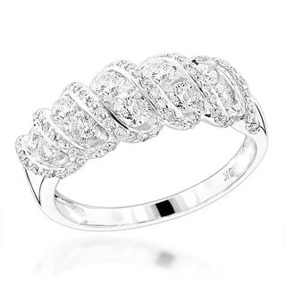 Luxurman 18k White Gold 1 1/3ct TDW Diamond Designer Ring (G-H, SI1-SI2)
