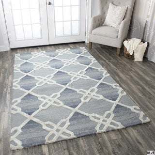 Rizzy Home Caterine Collection Blue and Khaki Area Rug (9'x 12')