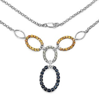 Olivia Leone 4.16 Carat Genuine Blue Sapphire, Green Sapphire and Orange Sapphire .925 Sterling Silver Necklace