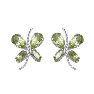 Sterling Silver 1 2/5ct TGW Genuine Peridot Earrings