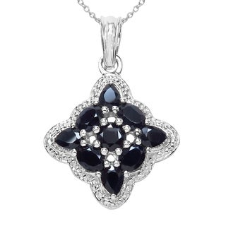 Sterling Silver 2 1/10ct TGW Genuine Blue Sapphire Pendant