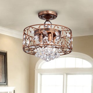 Bianca Round Iron Frame Flush Mount Chandelier with Crystal Balls