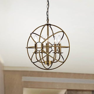 Benita 5-light Polished Brass Metal Strap Globe Chandelier