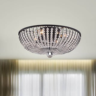 Connie 4-light Antique Black Crystal Beads Flush Mount Chandelier