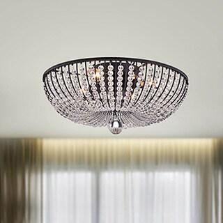 Connie 4-light Antique Black Crystal Beads Flush Mount Chandelier