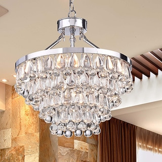 Ivana 5-light Chrome Luxury Crystal Teardrop Chandelier
