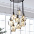 Mariana Cognac Glass Cluster Pendant in Antique Black Finish