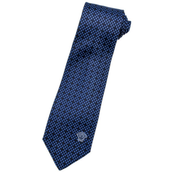 Versace 100-percent Italian Silk Blue Pattern Neck Tie