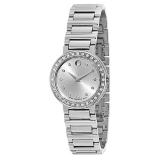Movado Women's 0606793 Concerto Stainless Steel Crystal Bezel Watch
