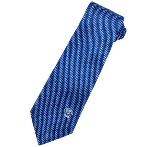 Versace 100-percent Italian Silk Blue Geometric Neck Tie