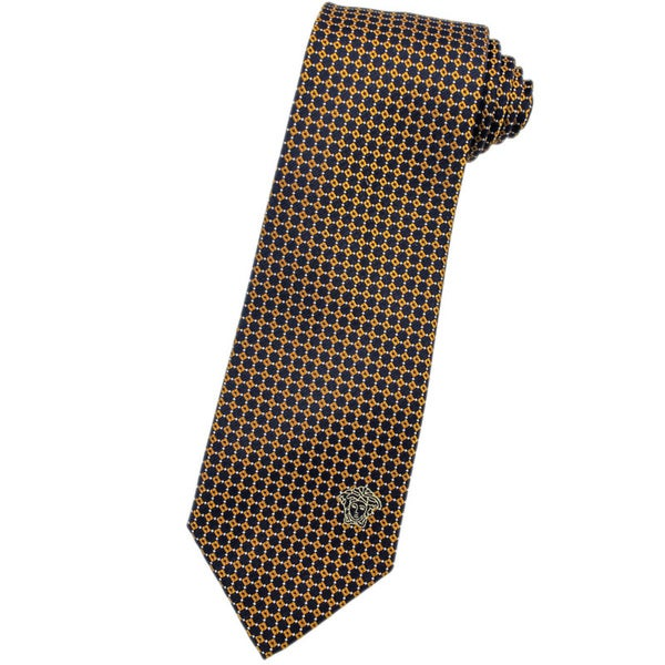 Versace 100-percent Italian Silk Gold Pattern Neck Tie