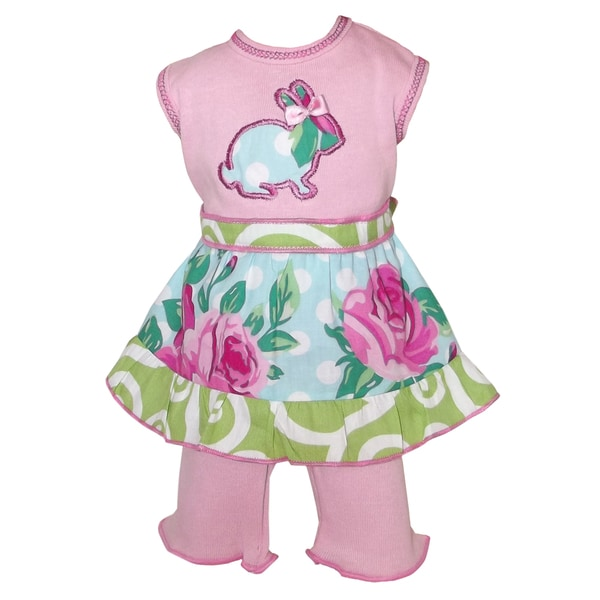 AnnLoren Easter Bunny Rose Dot 18-inch Doll Dress Set