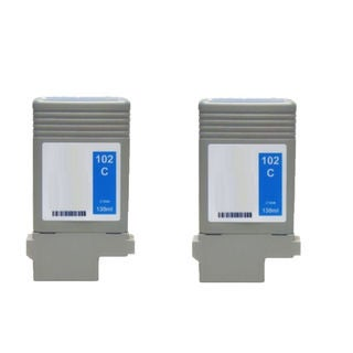 2PK PFI-102C Compatible Ink Cartridge For Canon ImagePROGRAF iPF 500 510 600 610 710 720 ( Pack of 2 )
