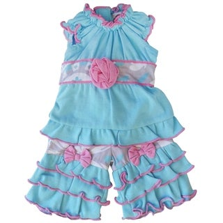 AnnLoren Blue and Grey Floral Ruffle 18-inch Doll Clothing Set