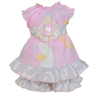 AnnLoren Pink Floral Dress and Shorts 18-inch Doll Clothing Set
