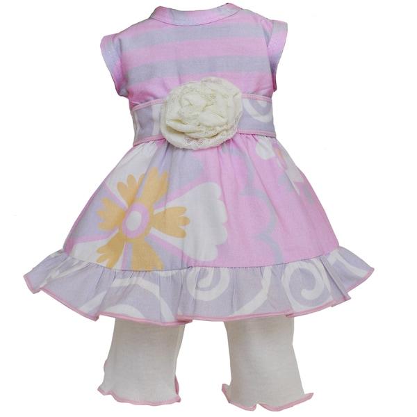 AnnLoren Pink Floral Dress Legging 18-inch Doll Clothing Set