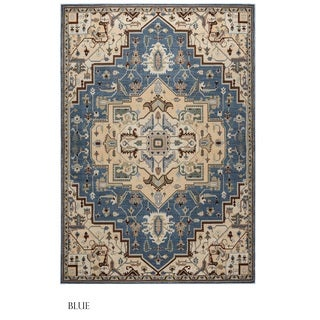 Rizzy Home Bennington Collection Black and Blue Area Rug (5'3 x 7'7)