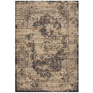 Rizzy Home Bennington Collection BI5557 Ivory and Black Area Rug (9'2 x 12'6)