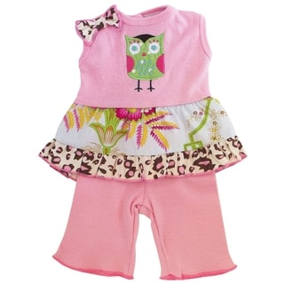 AnnLoren Pink Floral Owl 18-inch Doll Clothing Set