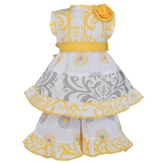 AnnLoren Yellow and Grey Damask 18-inch Doll Clothing Set