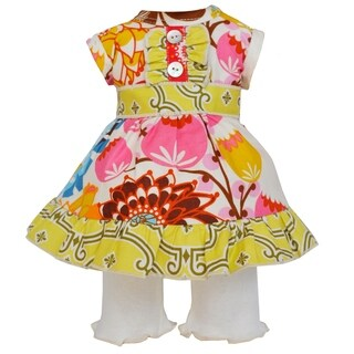 AnnLoren Bold Floral and Lattice Dress 18-inch Doll Clothing Set