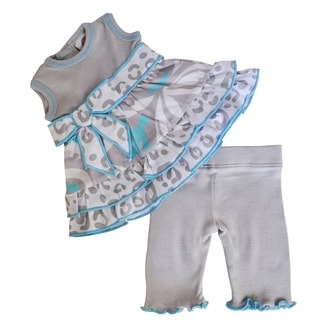 AnnLoren Blue and Grey Floral 18-inch Doll Clothing Set